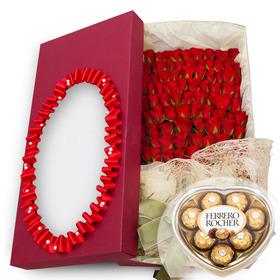 100송이꽃박스 4호(초콜렛포함)